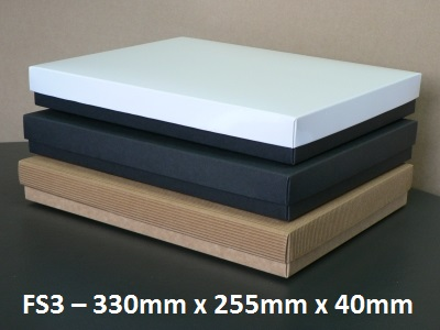 FS3 - Flat Box with Lid - 330mm x 255mm x 40mm